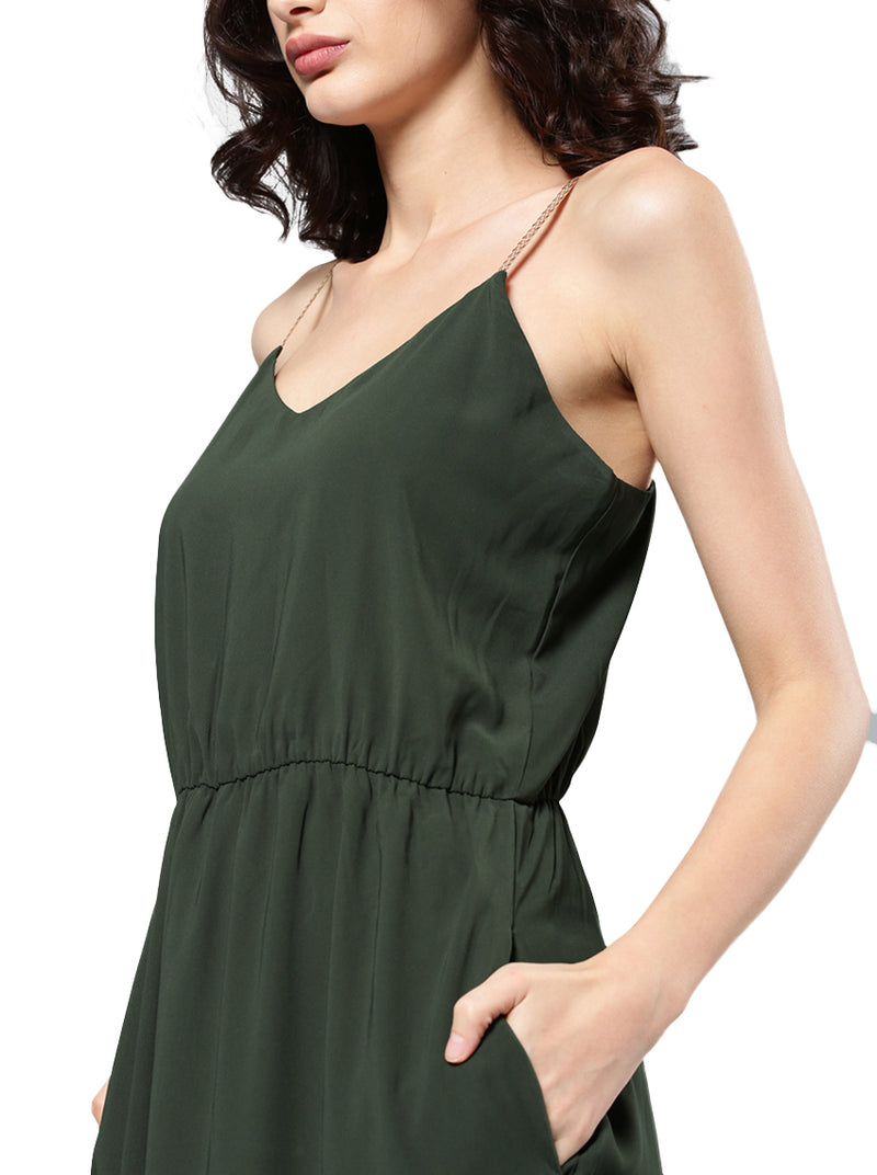 Olive Green Solid Maxi Dress