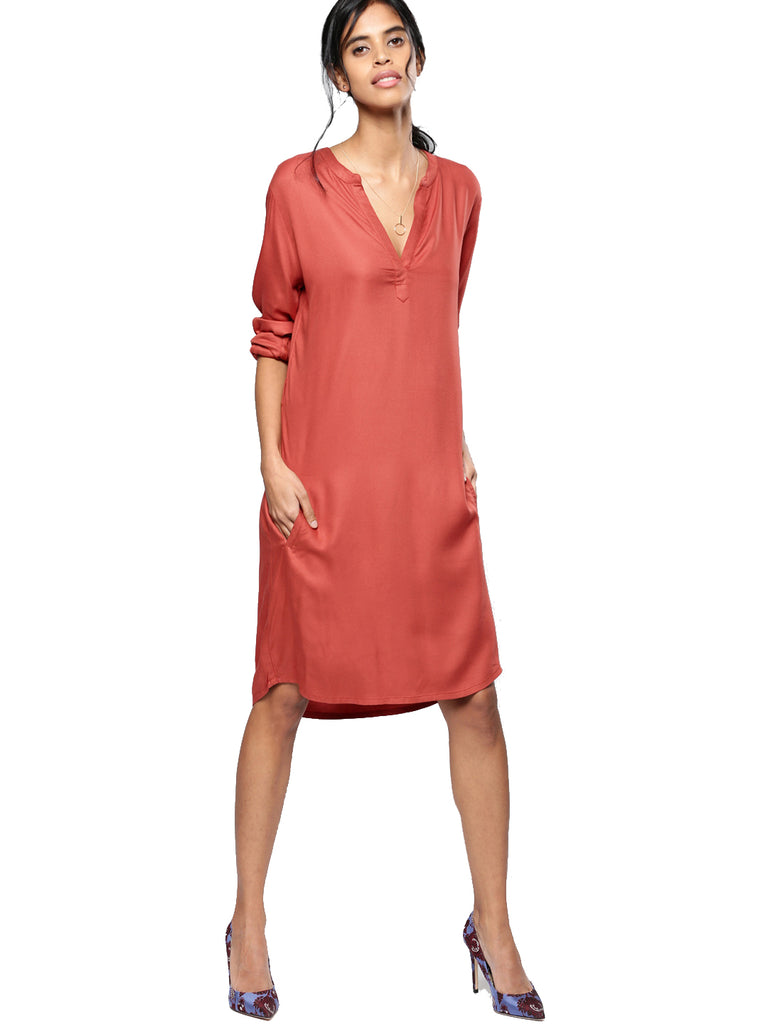 Rust Solid A-Line Dress