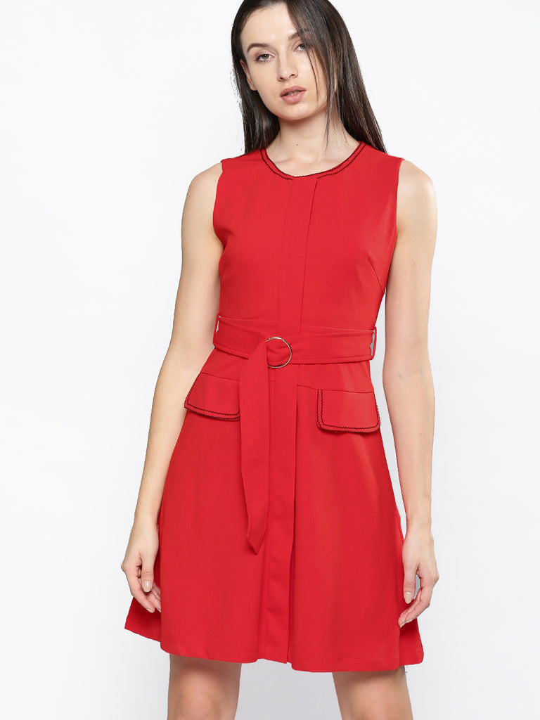 red pocket s/less dress