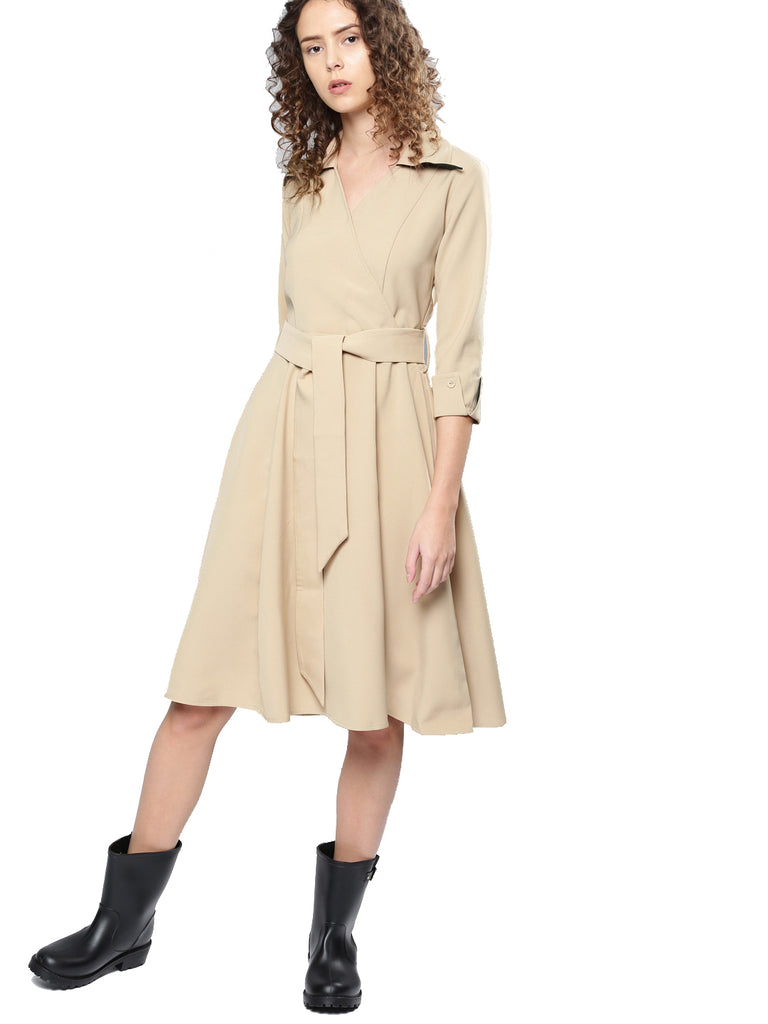 burberry collared flare dress