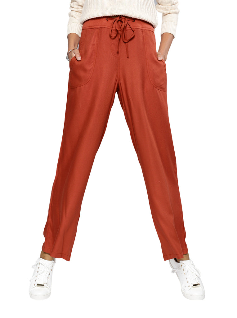 Rust Relaxed Loose Fit Solid Bootcut Trousers