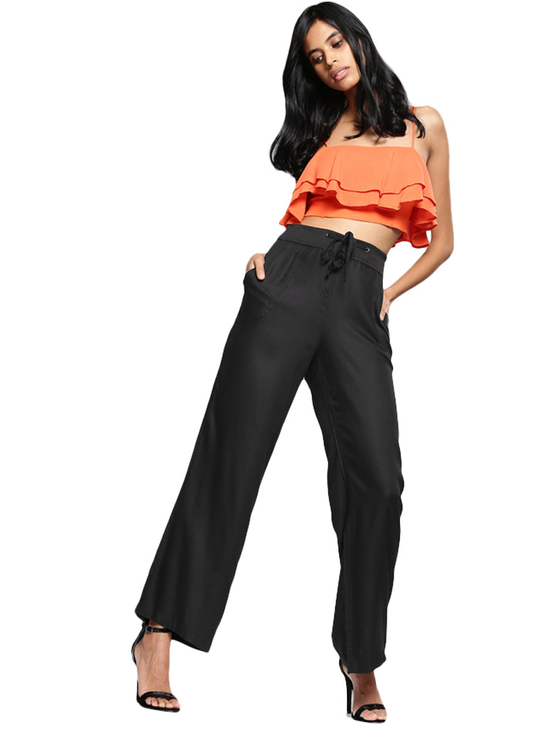Relaxed Loose Fit Solid Bootcut Trousers