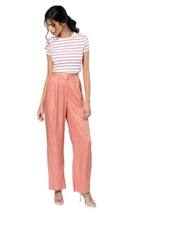 Pink Regular Fit Solid Parallel Trousers