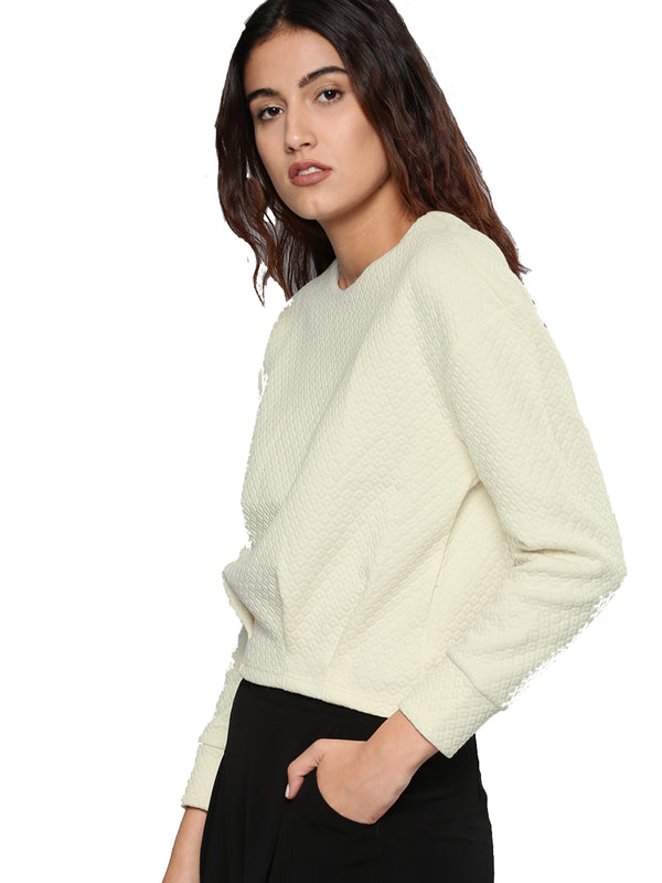 Beige Self Design Sweatshirt