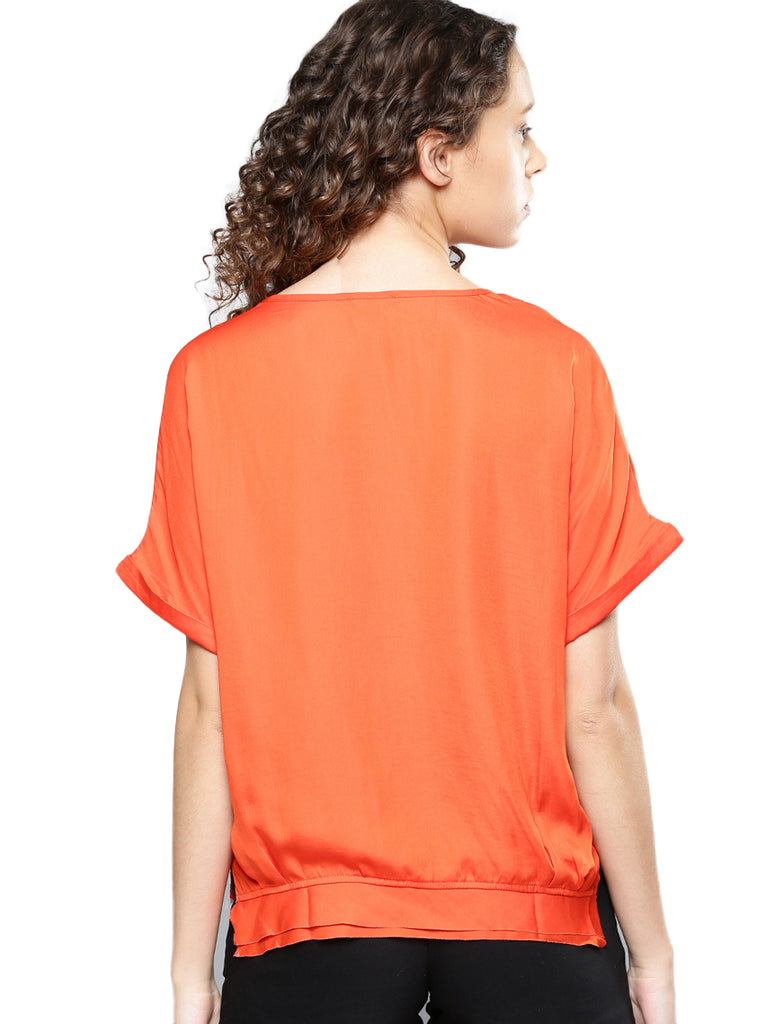 Satin roll up slv top
