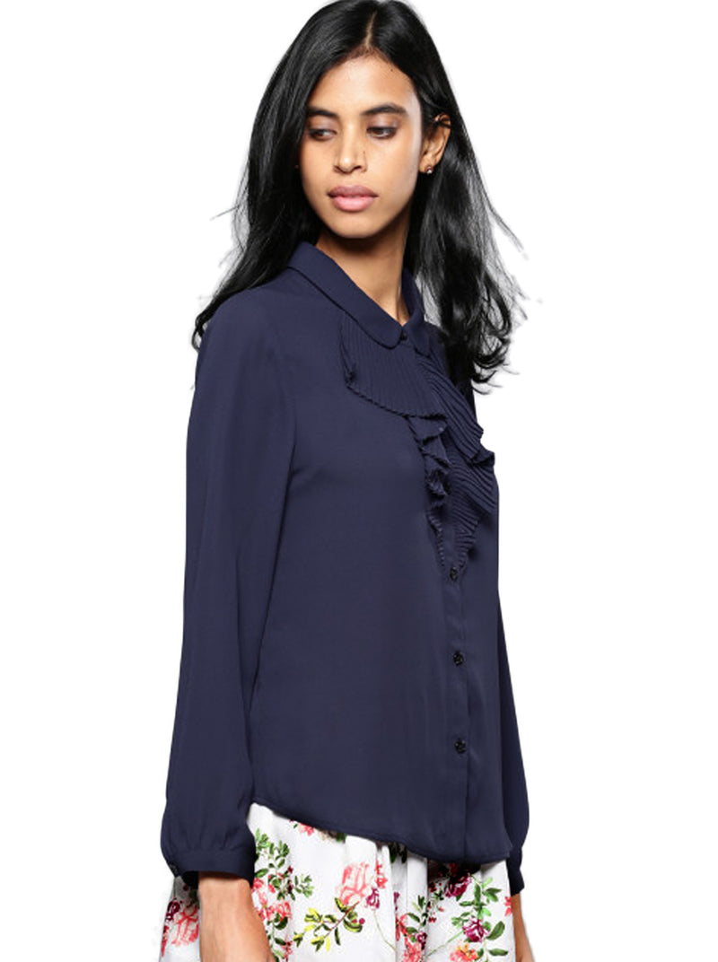Navy Blue Regular Fit Solid Casual Shirt