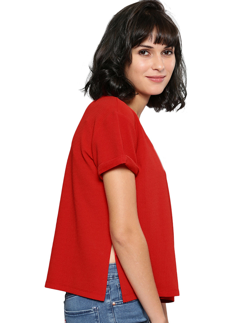 Red Self-Design Top