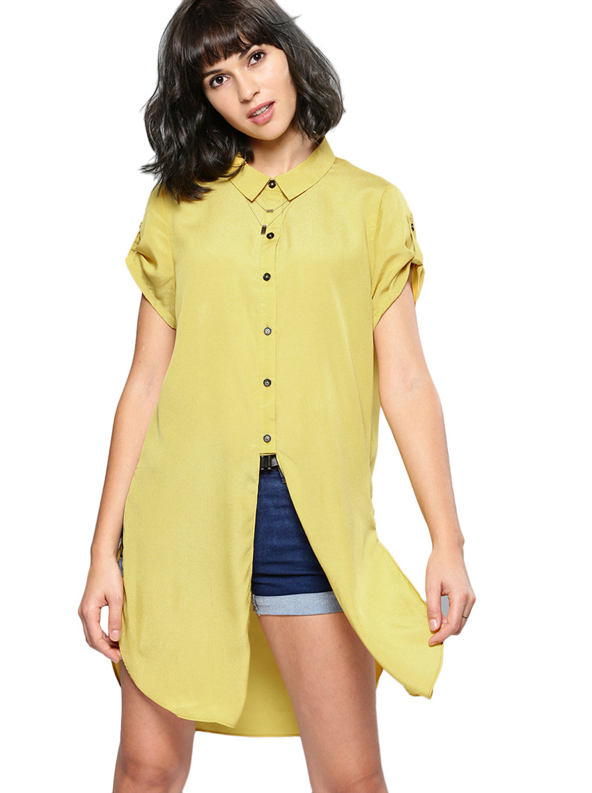 Yellow Regular Fit Solid Casual Shirt