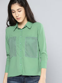 Green Regular Fit Solid Casual Shirt