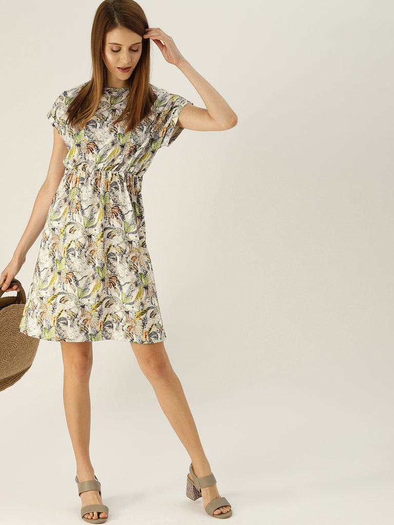 FLORAL PRINTED DRESS WITH ELASTIC