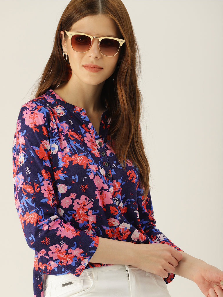 FLORAL PRINTED TOP WITH 3/4 SLEEVE