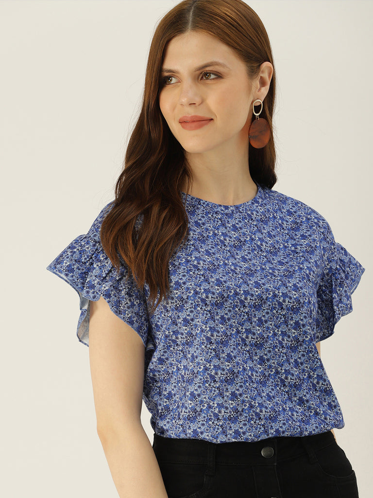 FLORAL PRINTED TOP WITH CAP SLEEVE