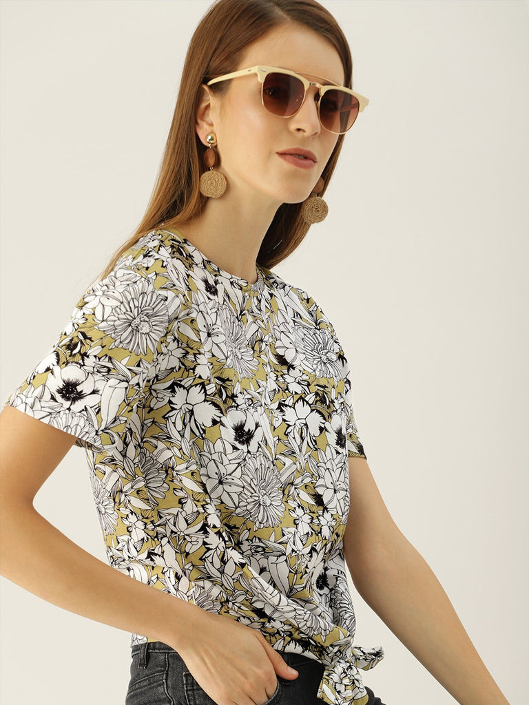PRINTED TOP WITH WAIST TIEUP
