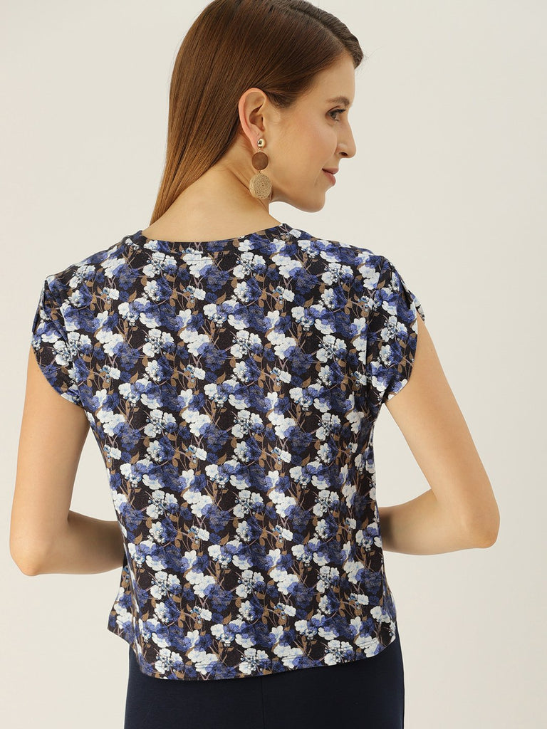FLORAL PRINTED TOP WITH PETAL SLEEVE TOP