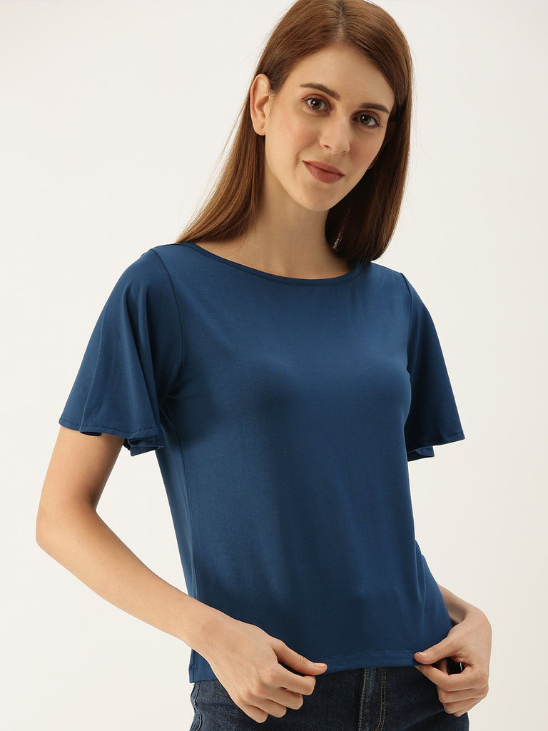 SOLID V NECK TOP WITH COLLAR