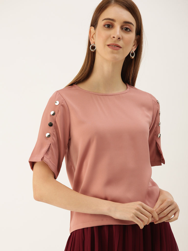 ROUND NECK TOP WITH HALF SLEEVE