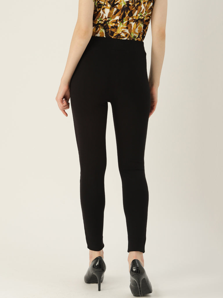 Black Solid Legging Slim Fit