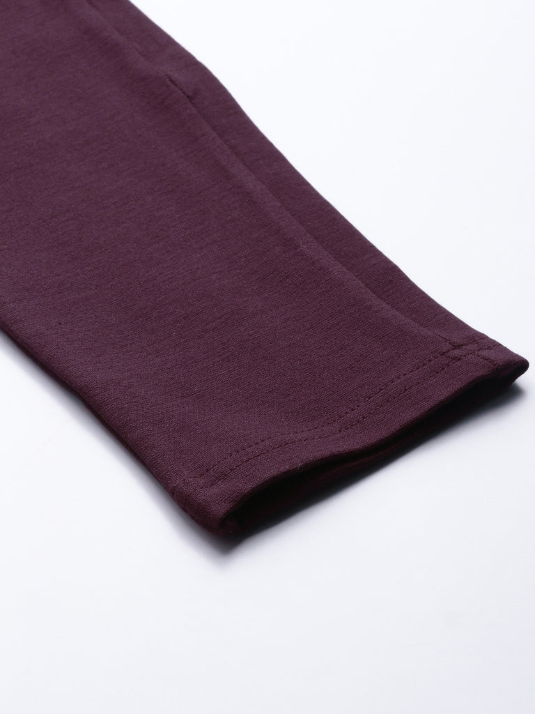 Maroon Solid Legging Slim Fit