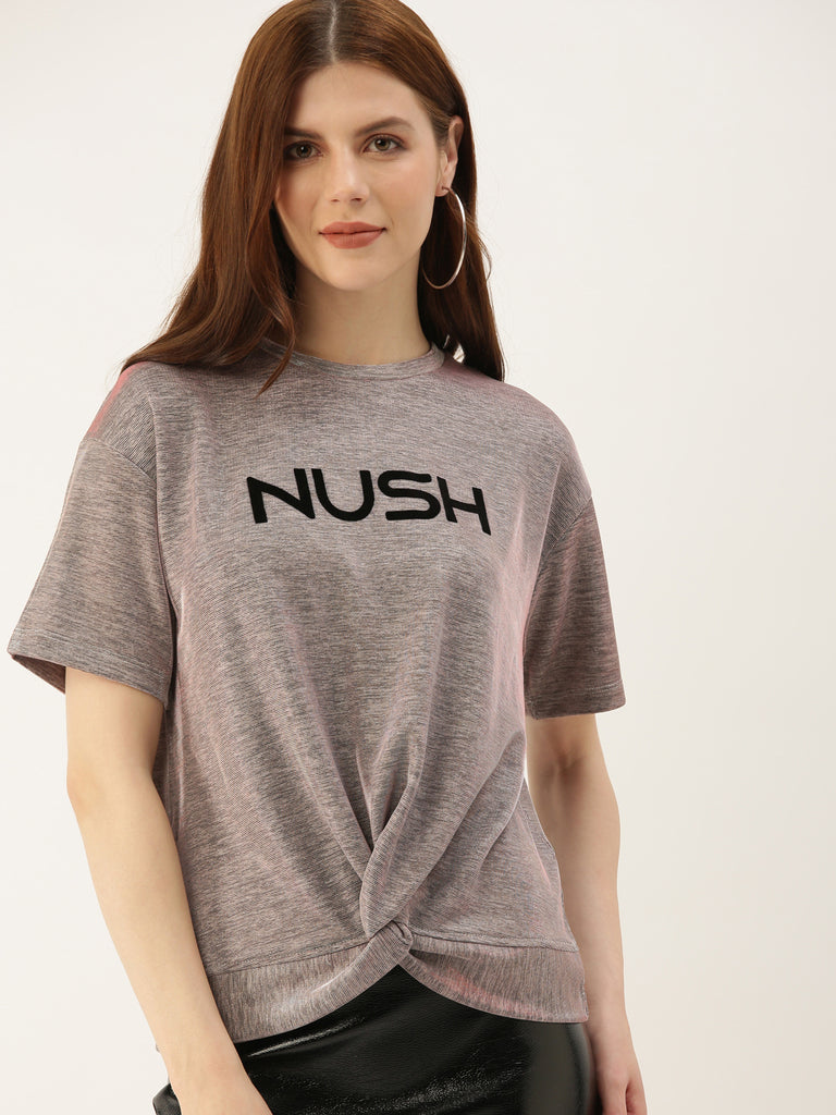 Nush Logo Tee With Front Twist