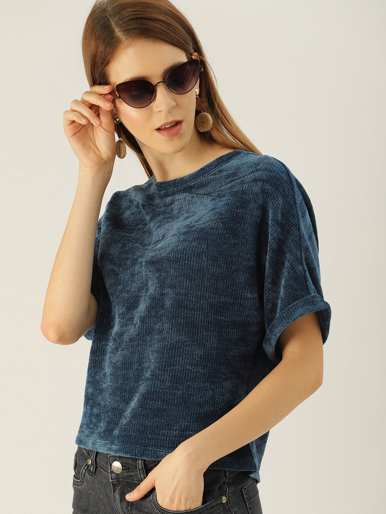 Round Neck Tee With Oversized Sleeve