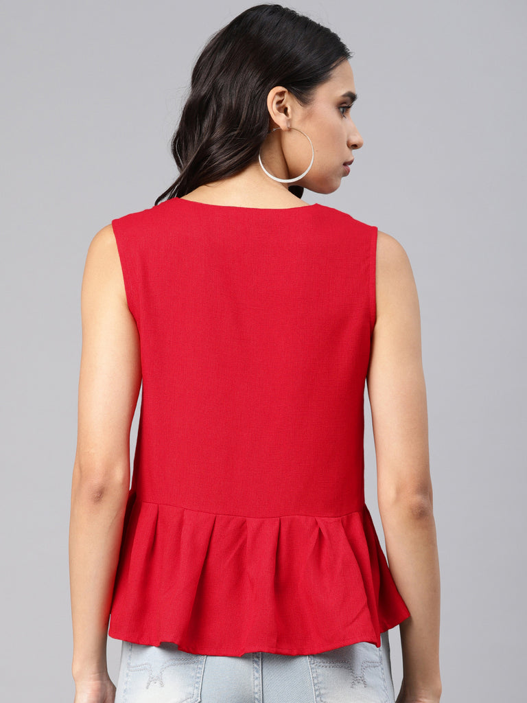 V Neck Top With Box Pleat Hem