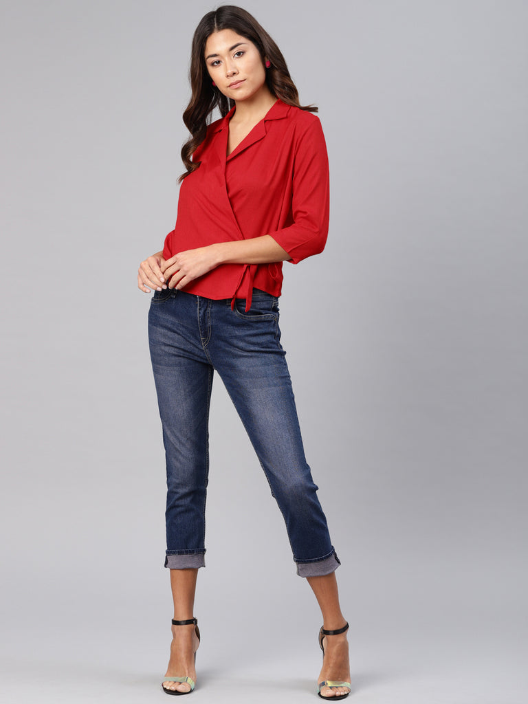 Notch Collar  Top With Side Tie Up