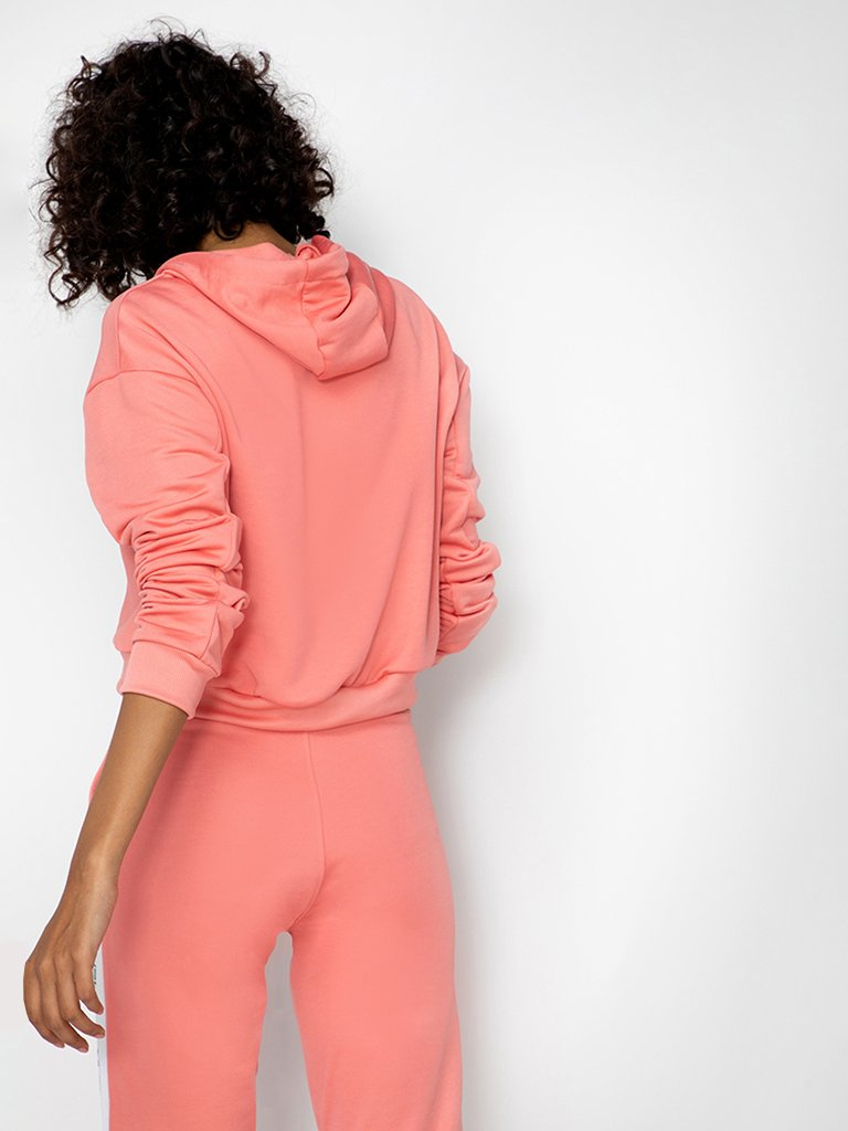 Pink Solid Hooded Sweatshirt