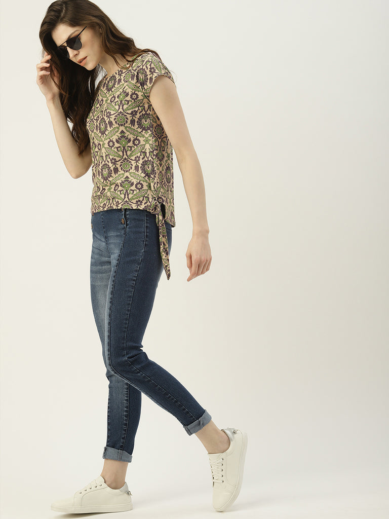 All Over Printed Round Neck Tee With Waist Tie