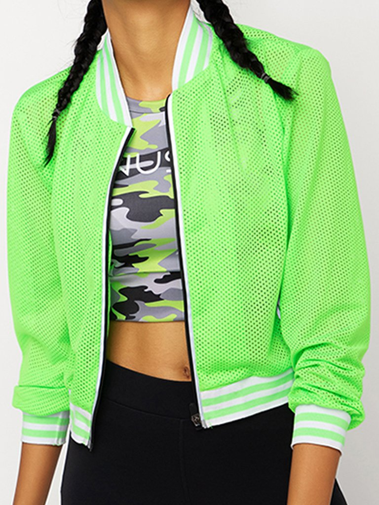 Green Solid Varsity Jacket