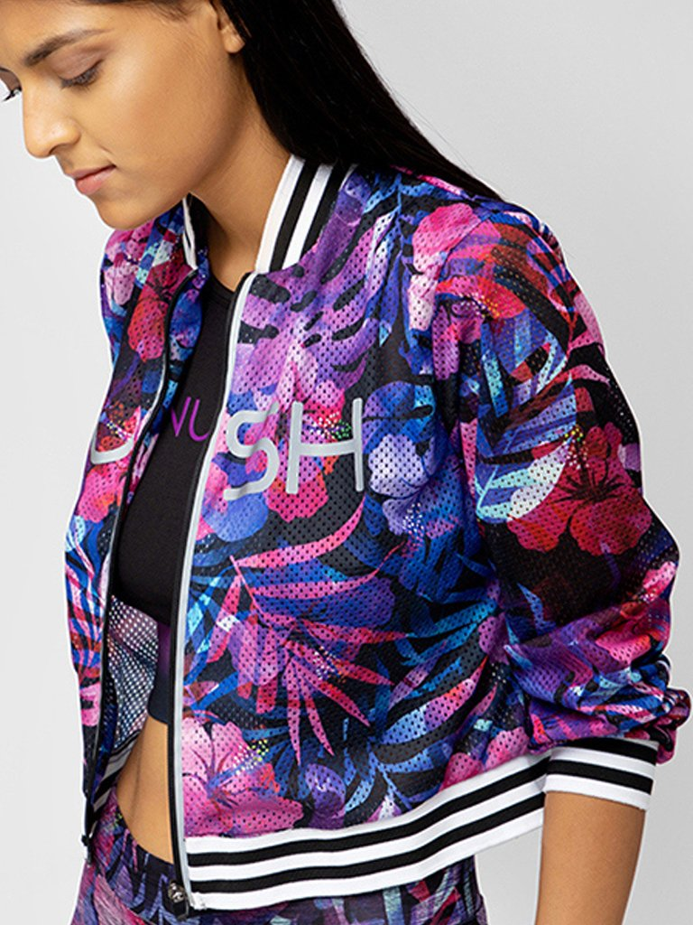 Purple Printed Cropped Jacket