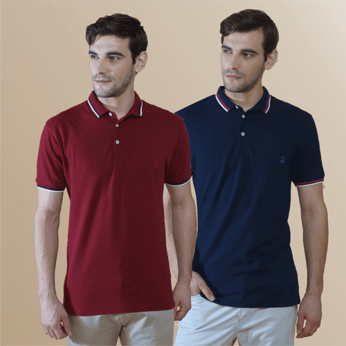 Dramatic Maroon and Midnight Blue Polo T-Shirts (Pack of 2)