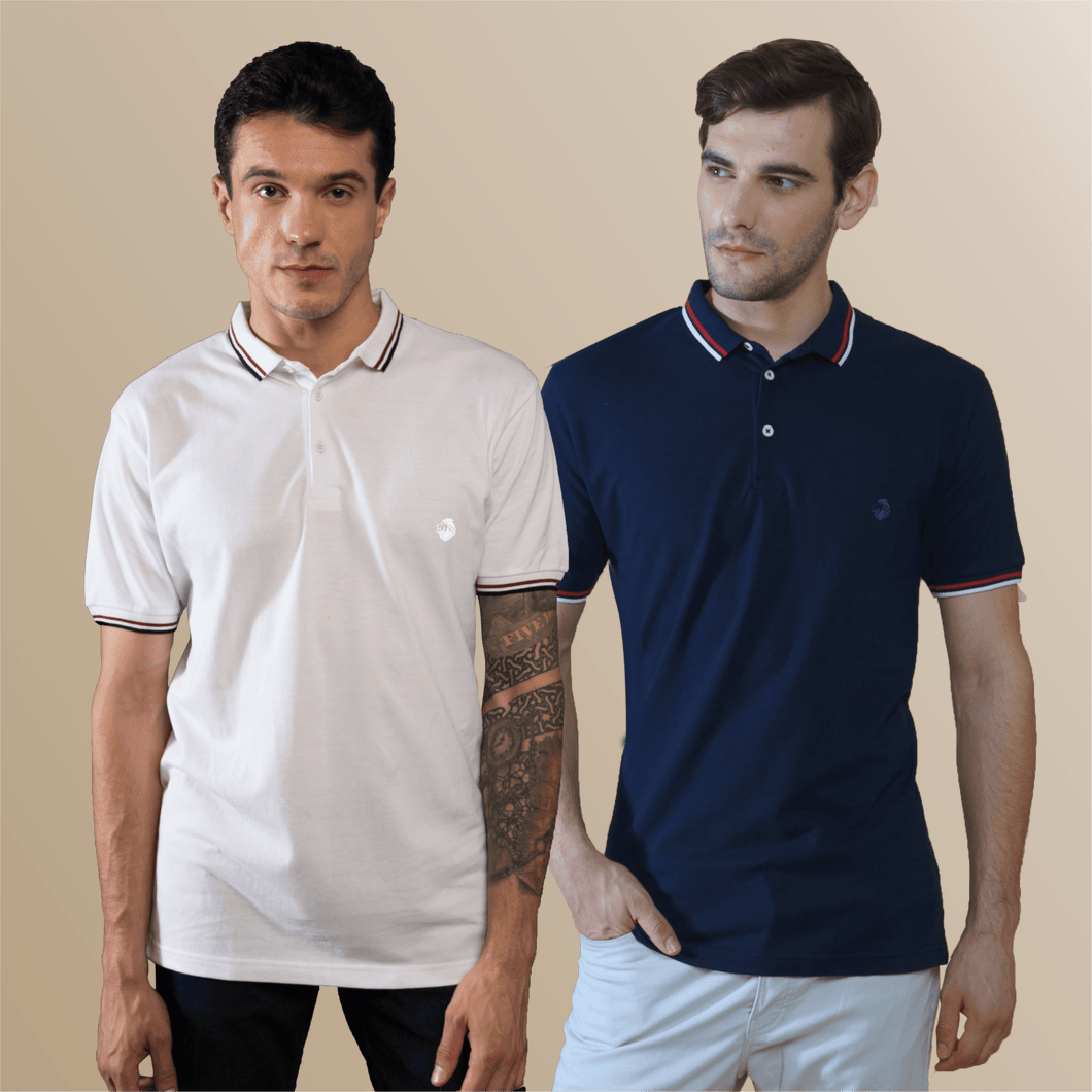 Pure White and Midnight Blue Polo T-Shirts (Pack of 2)