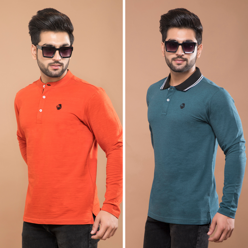 Orange Full Sleeve Henley and Aqua Teal Full Sleeve Polo T-Shirt (Pack Of 2)