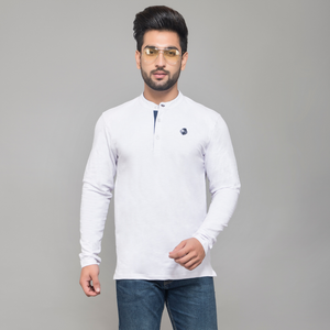 White Full Sleeve Henley T-shirt