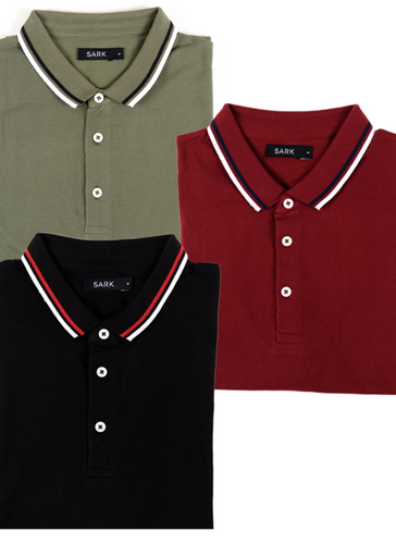 Sark Collection - 3 Pack of Polo T-Shirts (Olive, Black, Maroon)