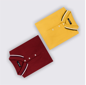 Mustard Fever and Dramatic Maroon Polo T-Shirts (Pack of 2)