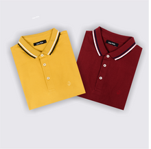 Load image into Gallery viewer, Mustard Fever and Dramatic Maroon Polo T-Shirts (Pack of 2)