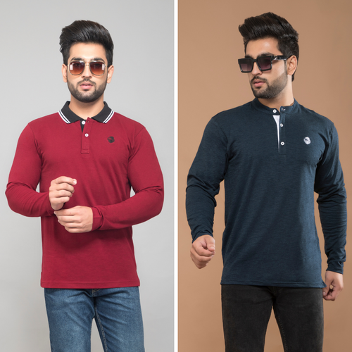 Maroon Full Sleeve Polo T-Shirt and Navy Blue Henley T-Shirt (Pack Of 2)