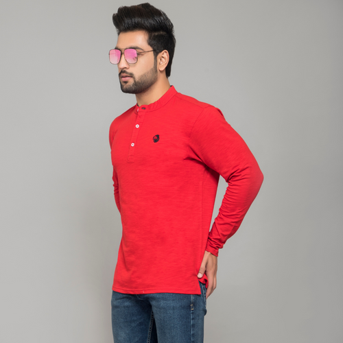 Red Full Sleeve Henley T-shirt