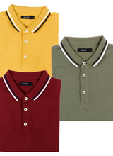 Load image into Gallery viewer, Sark Collection - Crazy Combo of 3 Polo T-Shirts (Maroon, Mustard, Olive)