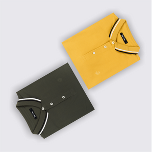 Eccentric Olive and Mustard Fever Polo T-Shirts (Pack of 2)