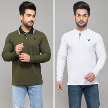 Load image into Gallery viewer, Olive Full Sleeve Polo T-Shirt and White Henley  T-Shirt (Pack Of 2)