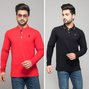 Red Full Sleeve Henley and Black Full Sleeve Polo T-Shirt (Pack Of 2)