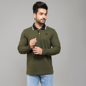 Olive Full Sleeve Polo T-shirt