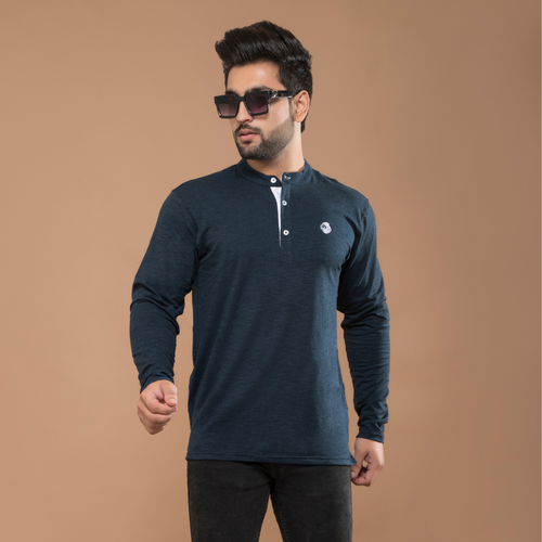 Navy Blue Full Sleeve Henley T-shirt
