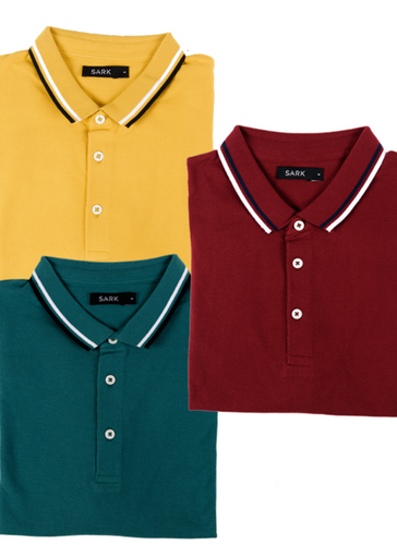 Sark Collection - Men Cotton Pack 3 Polo T-Shirts (Maroon, Green, Mustard)