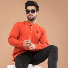 Load image into Gallery viewer, Orange Full Sleeve Henley T-shirt