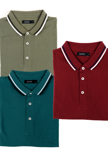 Sark Collection - Pack of 3 Polo T-Shirts (Green, Olive, Maroon)