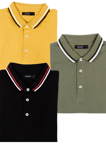 Sark Collection - Pack of 3 Polo T-Shirts (Olive, Black, Mustard)