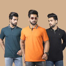 Load image into Gallery viewer, Elegance Combo Pack of 3 -Aqua Teal -Orange (Half Sleeve) and Black (Full Sleeve)